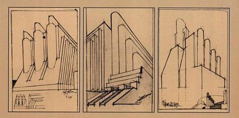 Designs by futurist architect Antonio Sant'Elia, drawn 1912-14