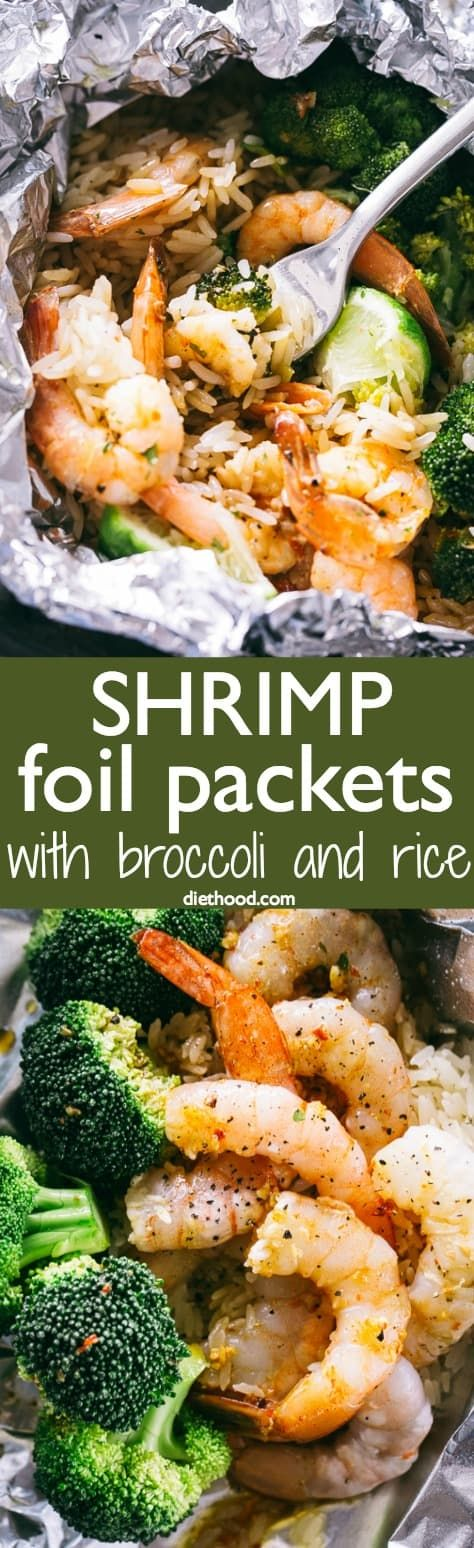 Shrimp Foil Packets with Broccoli and Rice - These foil packets are loaded with shrimp, broccoli and rice tossed in a delicious Asian inspired sauce, and they make for a quick, easy dinner packed with flavor! #shrimp #foilpackets #broccoli #rice via @diethood