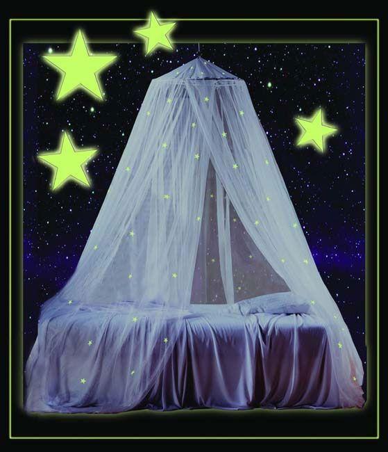 Glow In The Dark Canopy White Kids Bedroom Princess Mosquito Netting