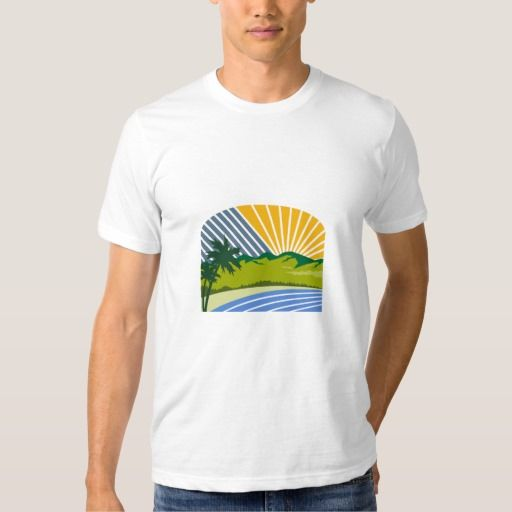 Tropical Trees Mountains Sea Coast Retro T Shirt. Illustration of tropical trees, mountains and sea coast set with sunburst in the background done in retro style. #Illustration #TropicalTreesMountainsSea