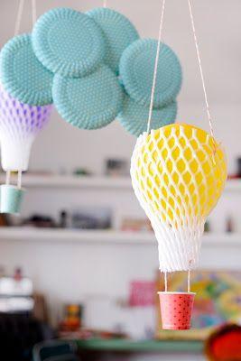 Estéfi Machado: Quem come mamão viaja de balão! * balões de bexiga e redinha de frutas papaya wrapper - hot air balloon