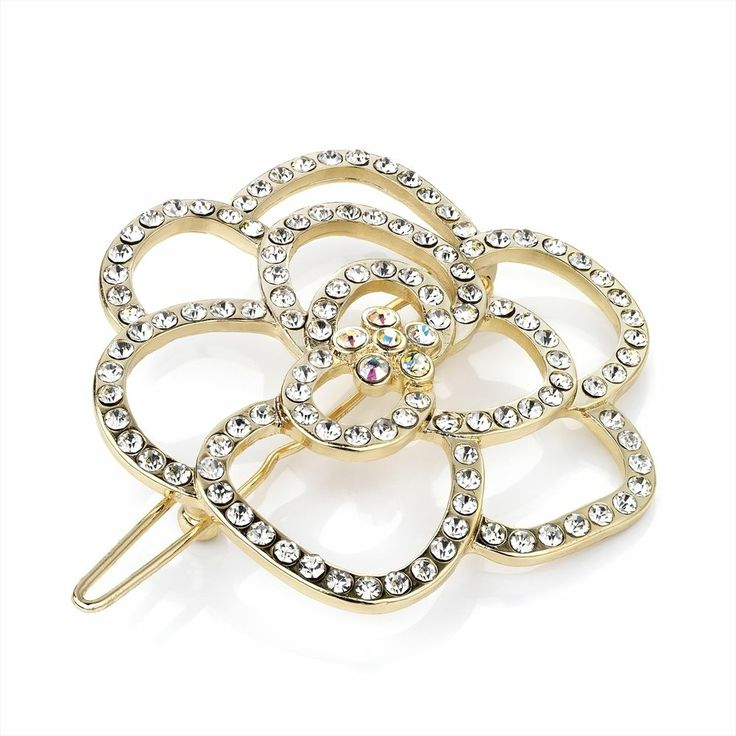 Sparkly Gold Tone Crystal Flower Hair Clip Prom Wedding Bridal Hair Accessories
