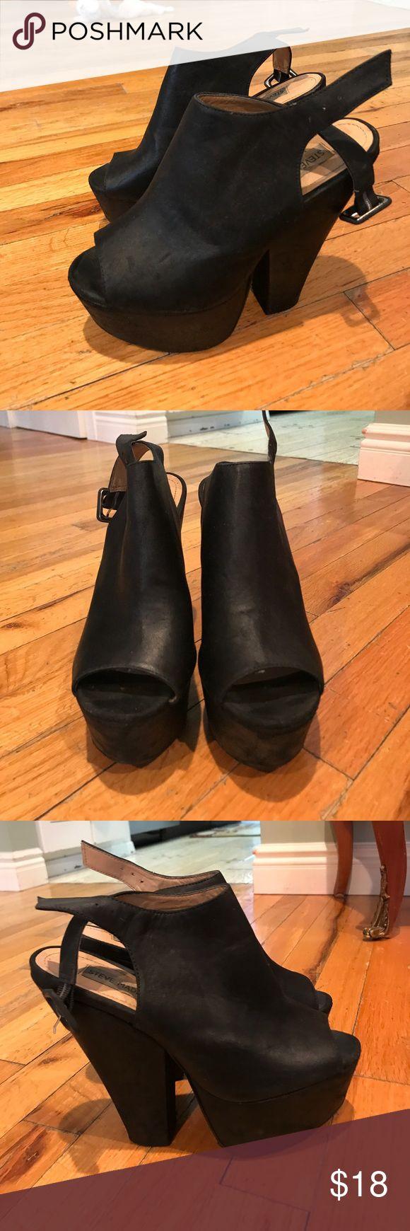 Steve Madden open toe black heels Black leather open toe heels Steve Madden Shoes Heels
