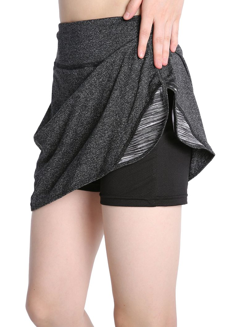EAST HONG Women's Golf skorts Workout Running Tennis Skorts (L, Gray). Soft & MOISTURE-WICKING - This women's sport skirt skorts are made from Polyester Lycra, quick drying, moisture-wicking and breathable. Two Layer - Our athletic skirt skort has two layer, shorts iner and skirt outer, you can enjoy your sports without worries. Perfect for running,tennis, gym workouts, golf, outdoors, hiking, and any fitness activity. Left front waist hidden pocket, you can put outdoor small parts…