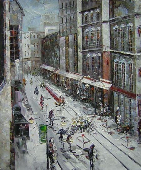 Ulice, město, zima, sníh,