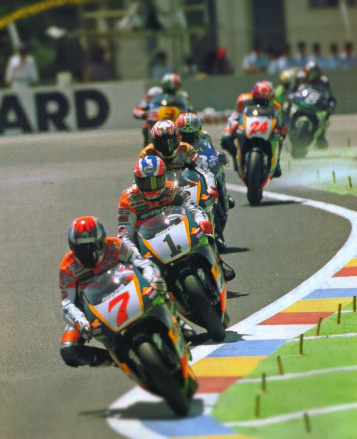1997 French motorcycle Grand Prix, 8 June 1997, Circuit Paul Ricard, Le Castellet 500cc two-stroke Honda train: Tadayuki Okada #7, Mick Doohan #1 (won the race), Àlex Crivillé #2, Nobuatsu Aoki #18, Takuma Aoki #24, Luca Cadalora #3 (Yamaha), Carlos...