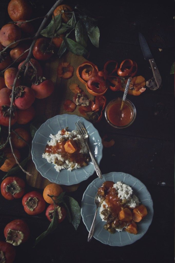 vegan coconut risotto with candied chestnut and spiced persimmon syrup.