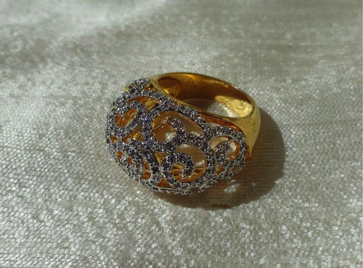 """Cascades"" Ethnic finger ring. Indian finger ring with white stones in – Artikrti"