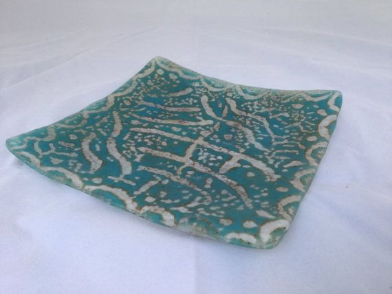 Blue Batik Glass Plate on Etsy, $40.00