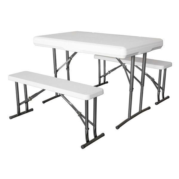 Conjunto mesa plegable con dos bancos plegables KP-1200