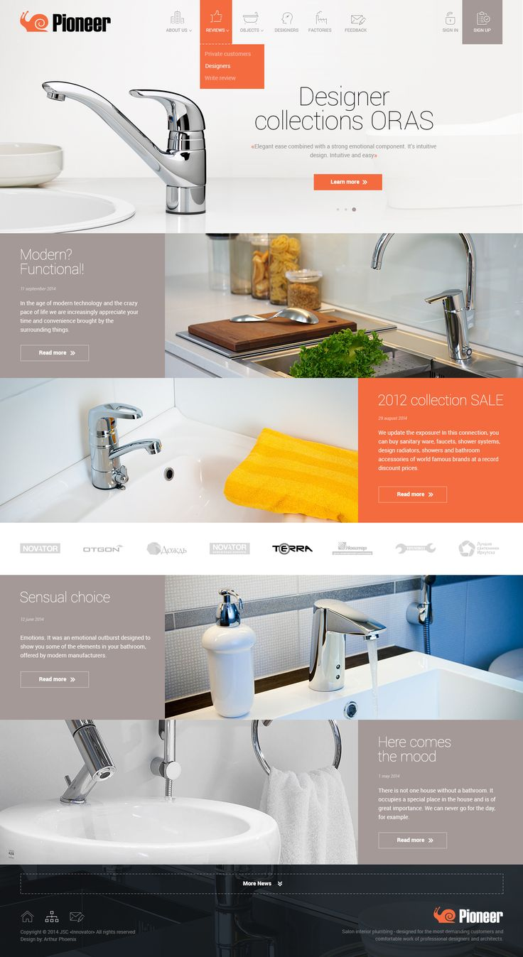 I glad to present to you a new concept for plumbing store «Pioneer».  I hope you like it!
