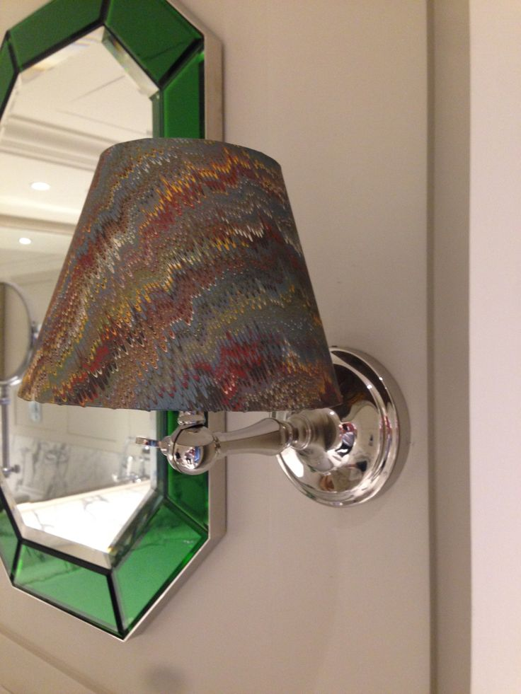 Custom mirror and marbled paper lampshade in