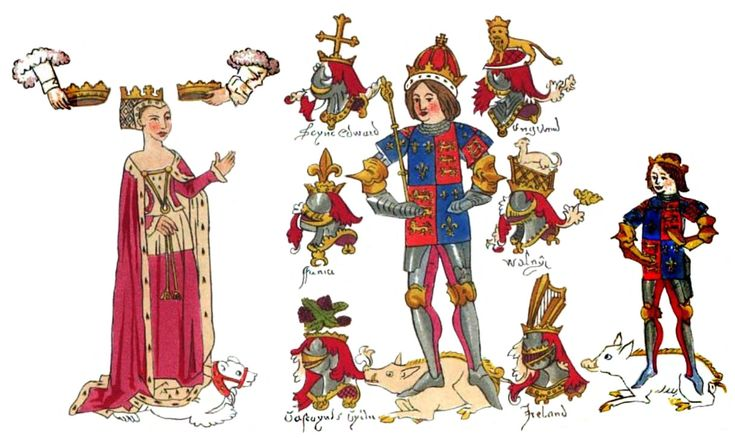 King Richard III and his family in the contemporary Rous Roll in the Heralds' College. Left to right: Anne Neville, Queen of King Richard III; King Richard III; Edward, Prince of Wales, their son.