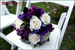 Bouquet, dark purple with white and slate.. black dresses, slate tux, purple flowers