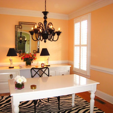 Office - paint old kitchen table and file cabinet glossy white, black chair