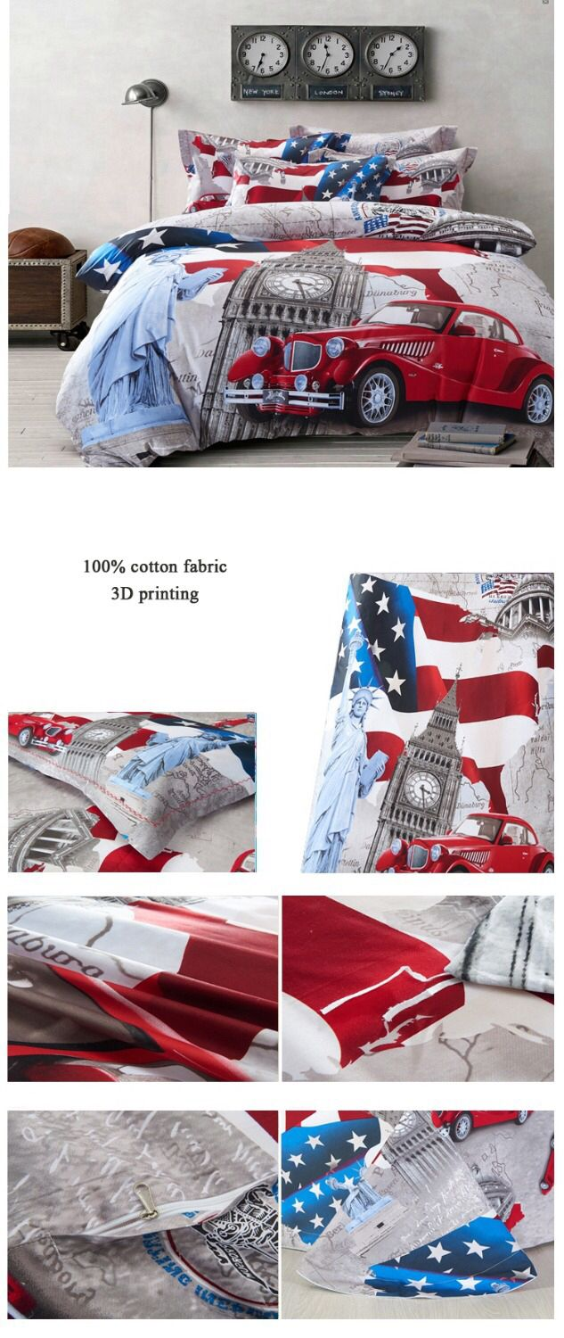 100% cotton 3d oil painting bed linen/Statue of Liberty big ben car bedding set/duvet cover flat sheet pillow case /king size