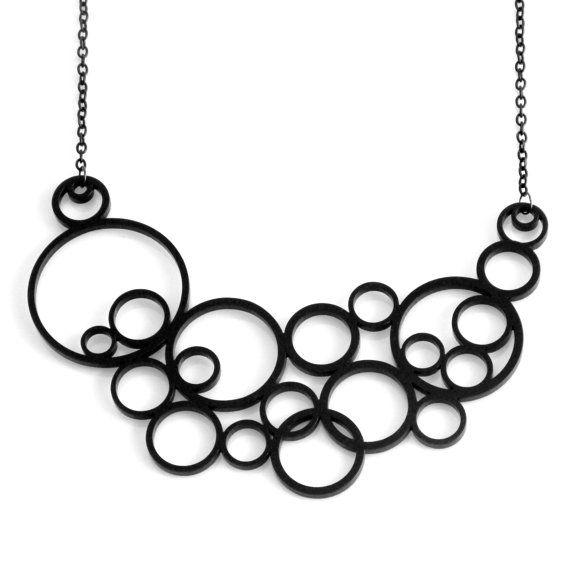 Laser cut bib necklace.  Etsy listing at https://www.etsy.com/listing/127082329/bubble-necklace-geometric-necklace-bib