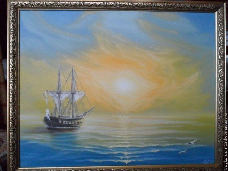"""Купить """"Желтое солнце Крыма"""" х.м. 40х50 - жёлтый, корабль, подарок на любой случай"""