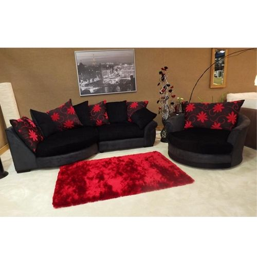 Eternal   Red Style   Fabric Chaise Corner Sofa   With The Beautiful  Matching Swivel Cuddle