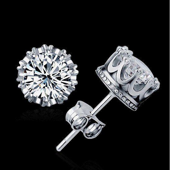 Sterling Sliver Crown CZ Diamond Stud Earrings