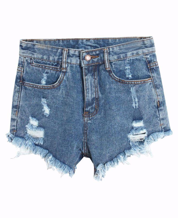 Washed Fray-Hem Ripped Denim Shorts
