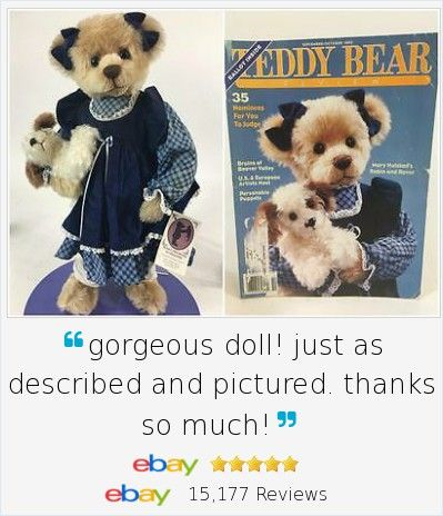 """Not often you get to display an artist bear WITH a 1993 magazine cover that featured her! Mary Holstad Robin & Rover two piece set, PLUS the original 1993 Teddy Bear Review Magazine. Also was a nominee for the 1994 TOBY awards. Artist signed, adorable 20"""" bear with her own puppy dog, hand made and signed. LE 33/50."""