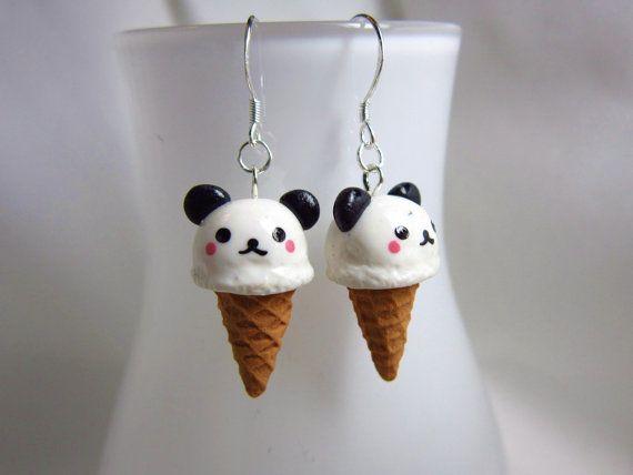 Kawaii Panda Ice Cream Earrings #cute