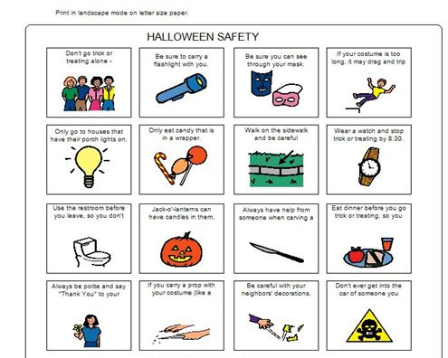 halloween safety game cards - Halloween Safety Worksheets