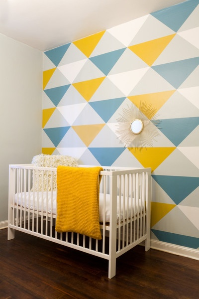 im crazy about triangles on walls these days this is actually peel wall paint - Bedroom Paint Design Ideas