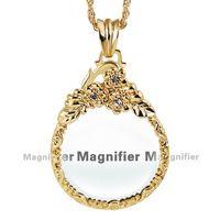 Lupa para leitura lupa colar coruja moda feminina pingente ródio com cristal Magnifier colar