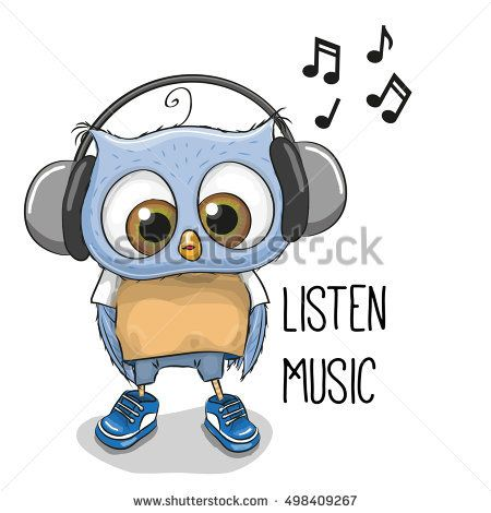 Cute cartoon Owl Boy with headphones on a white background