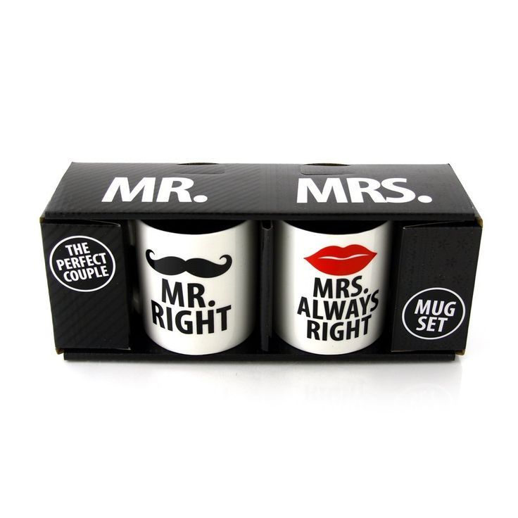 Our Name Is Mud 'Mr. Right and Mrs. Always Right' Mugs by Lorrie Veasey, Set of 2: Wedding gift