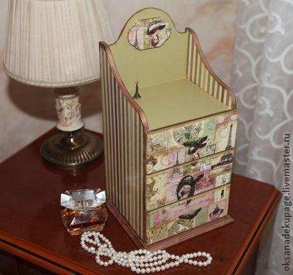 """Комодик """"Парижский шарм"""" - розовый,комод,комодик для украшений,комод декупаж"""