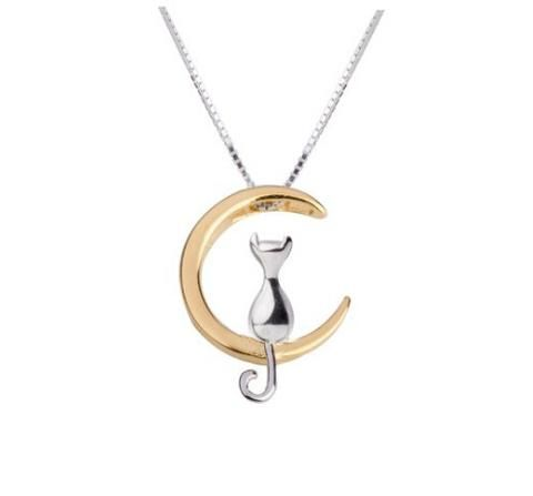 Cat Sitting On Crescent Moon Necklace