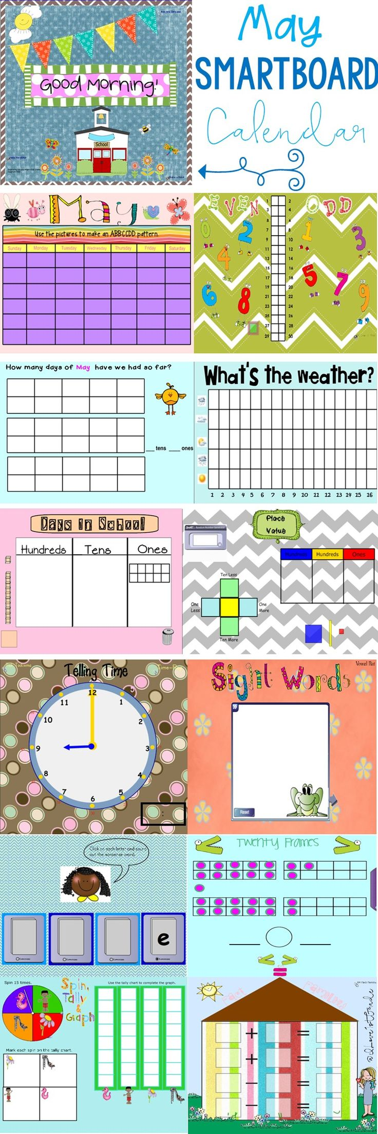 This 22 page SMARTBoard calendar is all you'll need to begin each day of May with a rigorous yet engaging start. It is aligned with CCSS ELA and NBT, Geometry, Data and Measurement and Operations standards.  This product includes a calendar, months of the year page, odd/even days of the month, days of school page, place value days in school, money count, ten and twenty frames, modify-able sight word page, cut out number grid puzzle, fact families, weather graph, greater/less than page, skip…