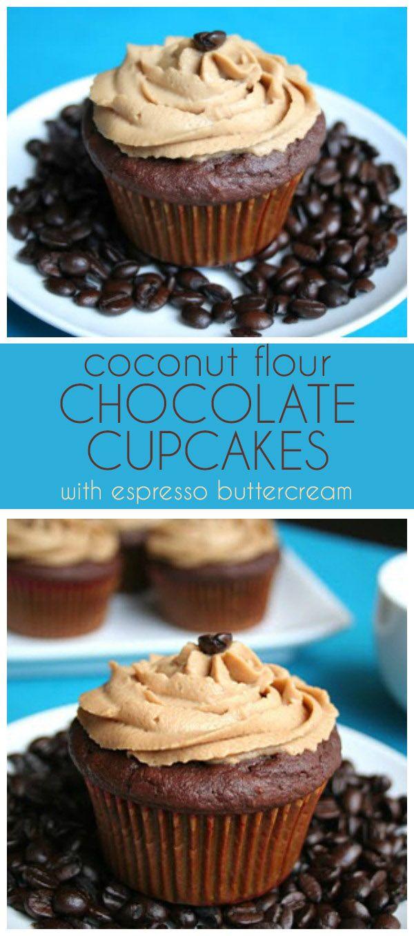Low Carb Coconut Flour Chocolate Cupcakes with Espresso Buttercream