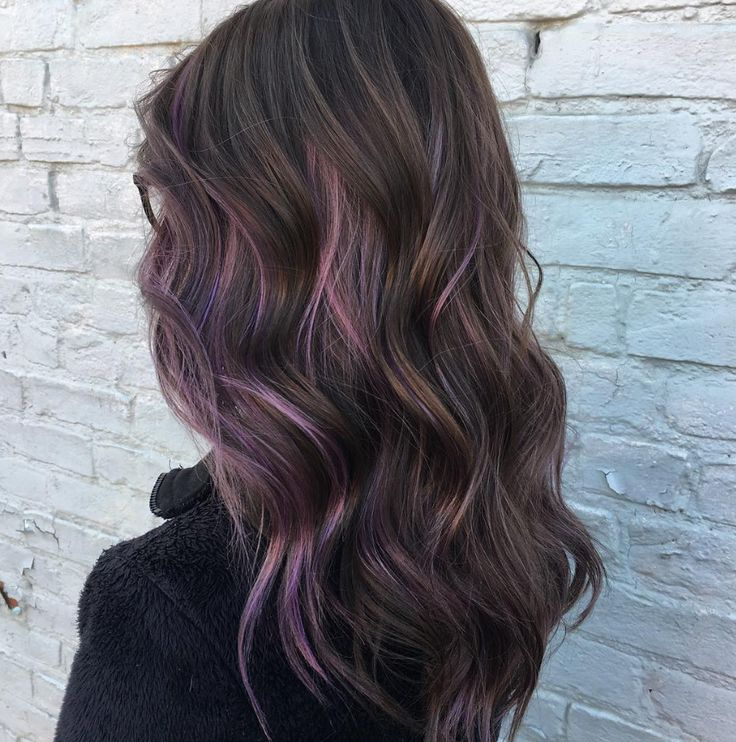 Best 25 purple highlights ideas on pinterest balayage hair we love how this brunette aveda color pops with a little burst of purple highlights on long hair work by aveda artist lorin kay victor pmusecretfo Images