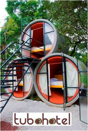 Tubohotel in Tepoztlan-Mexiico. Tubes during the day in an organic orchard less than an hour away from Mexico City. Tubohotel is an affordable hotel that uses recycled concrete tubing for its rooms, a strategy employed by designers T3arc to build a hotel quickly & cheaply, without sacrificing the area's spectacular views. Very affordable youth hostel at just $31 to $49 a night.