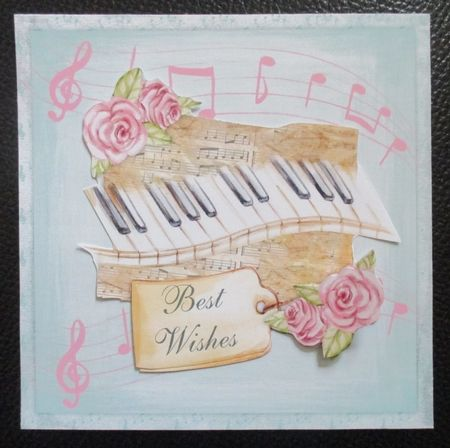 Music keyboard  6 x 6 card topper with roses and various greeting tags by Davina Rundle