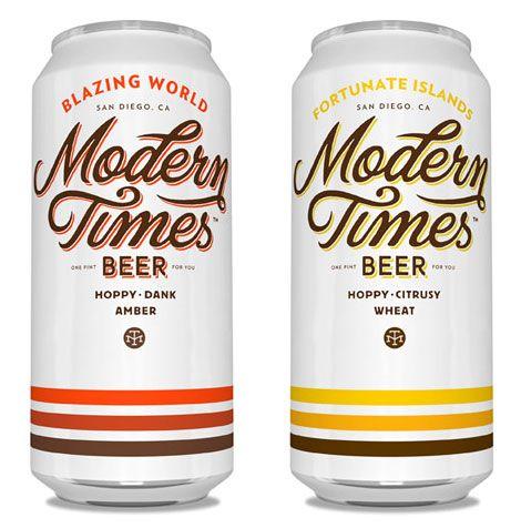 Modern Times Beer Cans, designed by Helms Workshop