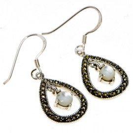 Marcasite Teardrop with Moonstone Danglies. #Sterlingsilver #jewelry #earrings #motherofpearl