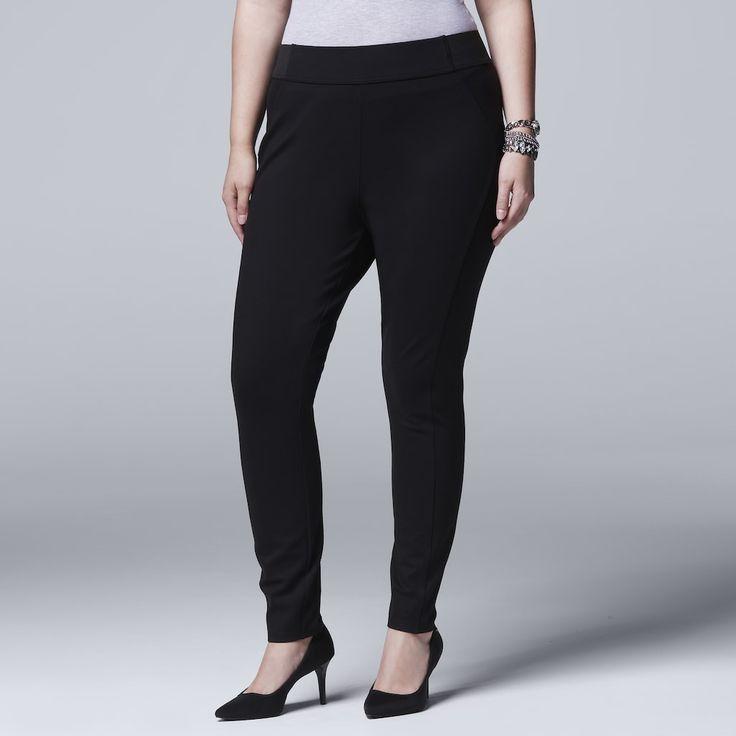 Plus Size Simply Vera Vera Wang Pull-On Skinny Pants, Women's, Size: 1X Short, Black