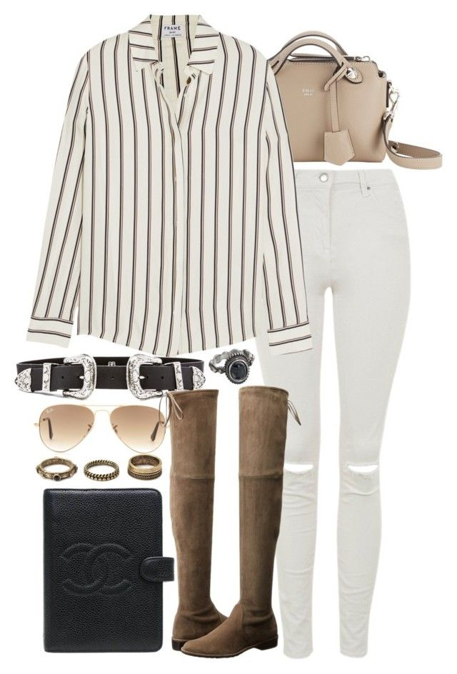 """""""Untitled #7654"""" by nikka-phillips ❤ liked on Polyvore featuring Ray-Ban, Fendi, B-Low the Belt, Topshop, Frame Denim, Stuart Weitzman, Chanel, Forever 21 and Mudd"""