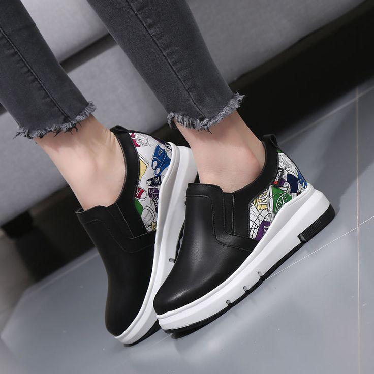 Women's Loafers Slip Ons Floral Hidden Heel Platform Athletic Casual Shoes T0134