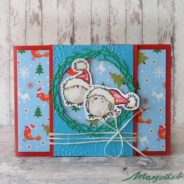 Vánoční+přání+ptáčci+II+Přáníčko+z+papíru+velikost+a6.