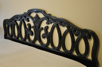 Shabby Refinished King-Sized Headboard.  Amazed at how you can take something hideous from a thrift store, add some black spray paint and distress, and you have a great headboard for very little money!  http://www.allthingsthrifty.com/2009/08/cheap-king-size-headboard.htmlhttp://www.allthingsthrifty.com/2009/08/cheap-king-size-headboard.html