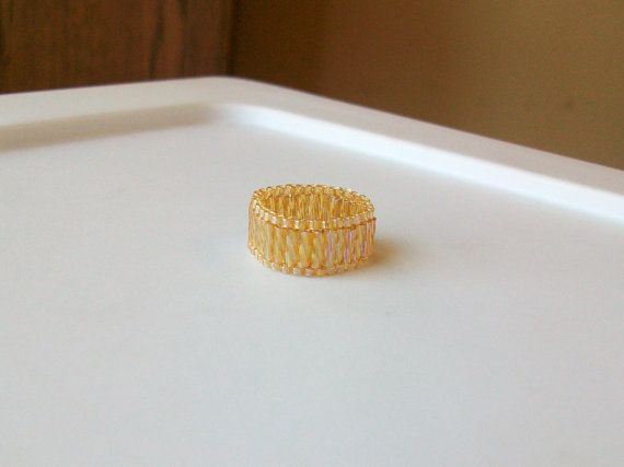 Gold Topaz Beaded Band Ring  Size 7 by mswolflady on Etsy, $10.00