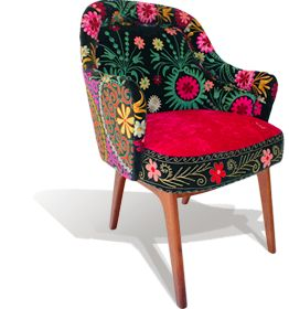 The India Chair...Vintage velvet embroidery on generous mid-century armchair NZ$2250 from Masutti & Masutti
