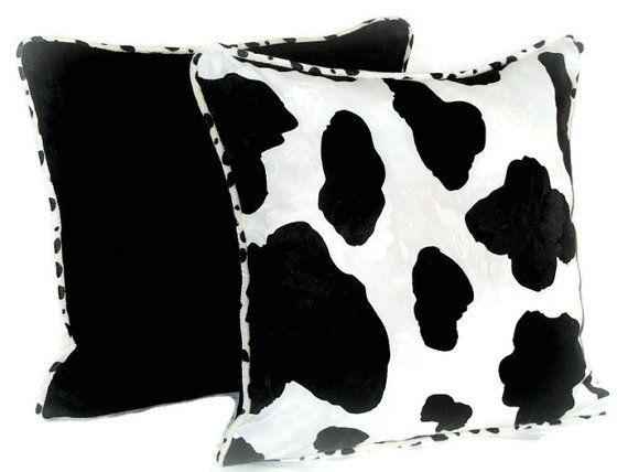Cow print throw pillow cover 18x18 White black animal by SABDECO