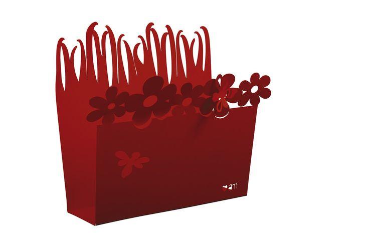 """porta riviste """"Fiore"""", rigorosamente in rosso corallo"""